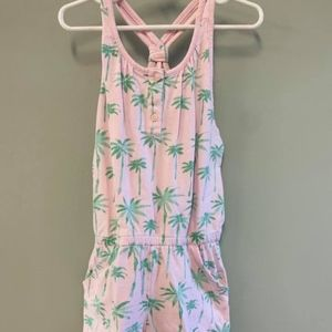Gymboree Girls 8 Palm Tree Romper Pink Pockets